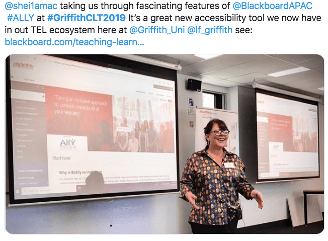 Sheila McCarthy presenting 'BbAlly' at Celebrating Learning & Teaching 2019