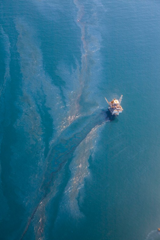 Oil from the Coal Oil Seep Field drifts across Platform Holly, off the shore of UC Santa Barbara.
