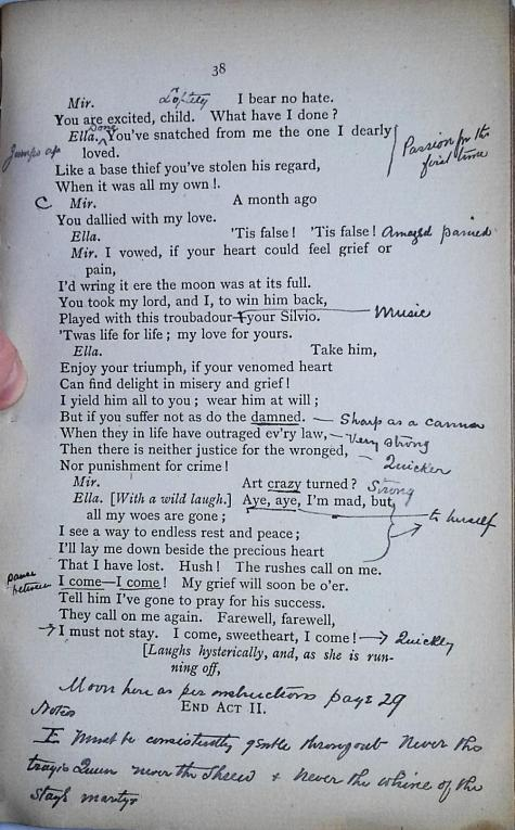 Stage directions dictated by Ellen Terry and transcribed by her brother Charles Terry, page 38