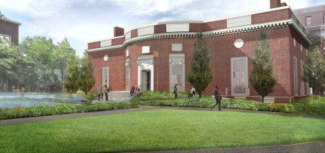 An artist's rendering of Houghton Library's renovated exterior, featuring a new staircase, fully accessible entry points, and fresh landscaping.
