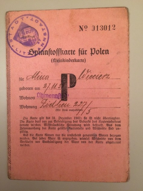 A ration card issued by the Nazis to a Polish girl during the Second World War, circa 1941-1942.
