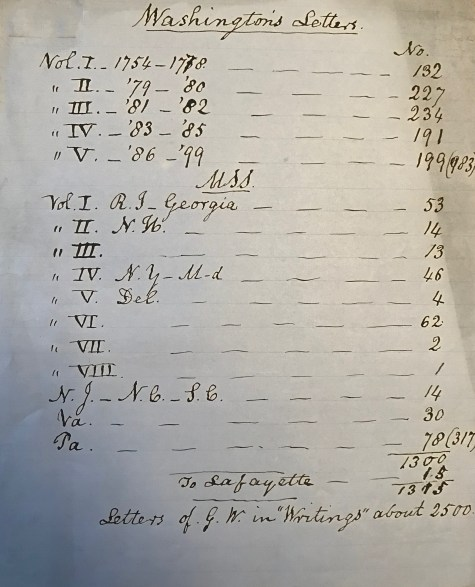 A handwritten list by Jared Sparks indicates the number of letters by George Washington that he has gathered for his 12-volume work, The Writings of George Washington