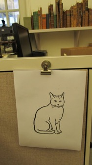 A picture of a cat that Jaret printed when asked to test the printer.