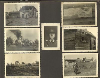 Photos of warfare, including damaged buildings and a downed plane, surrounding a portrait of Ernst Banaski.