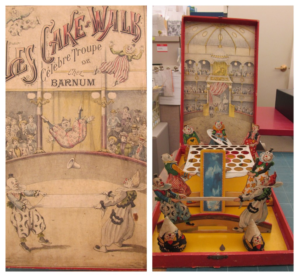 Two images depict a game cover box and an assembled 19th century game featuring circus clowns.