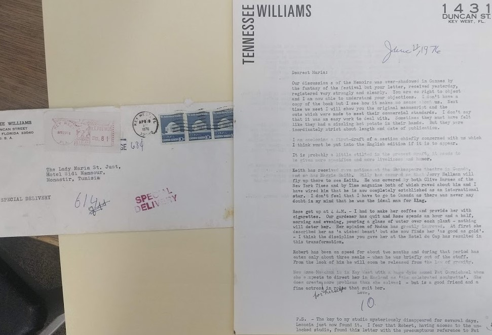 "A typed letter by Tennessee Williams to Mary St. Just next to an envelope with a typed address and stamped with ""special delivery."""