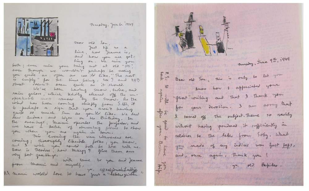 Two handwritten letters by Lyonel Feininger, one white and one pink, with drawings.