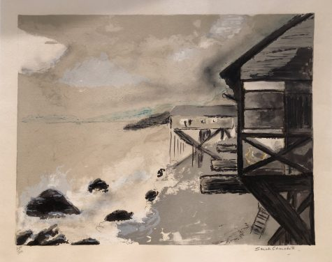 A lithograph by Sarah Churchill depicts an ocean-front scene with houses on stilts on a shoreline with rocks and breaking waves.
