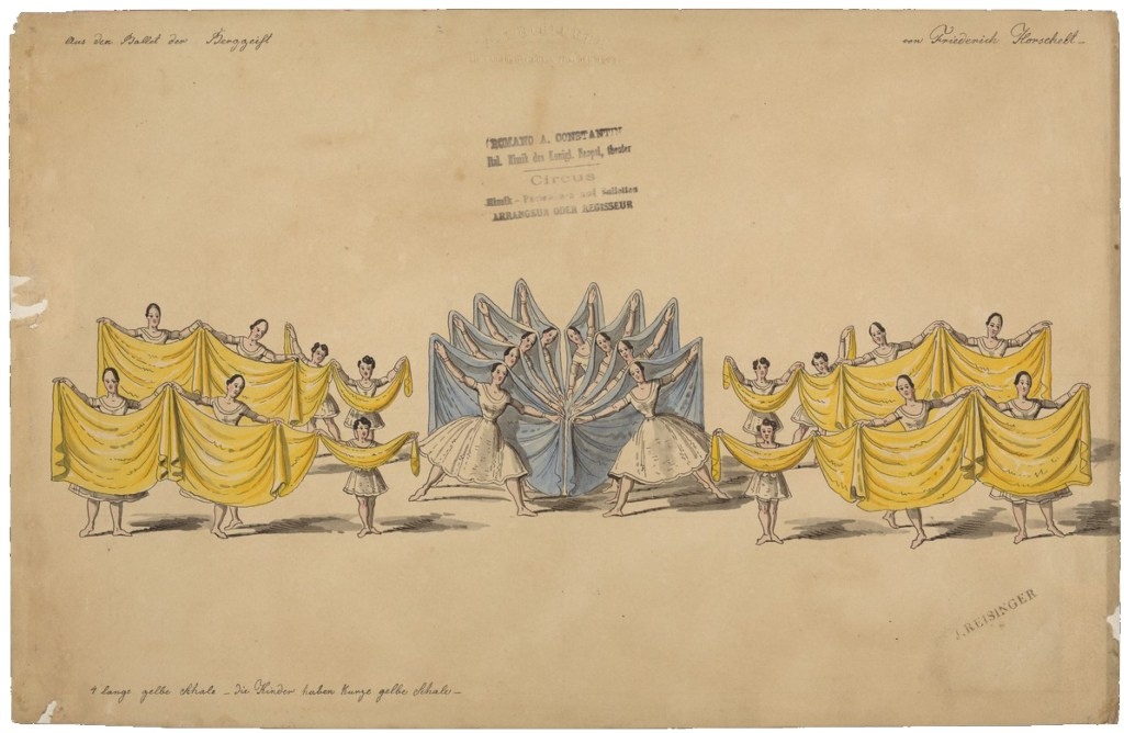 Dancers arrayed with large yellow and blue fabrics