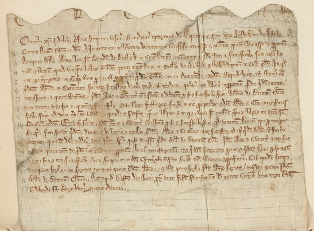 Charter of Margaret de Rivers, 1298