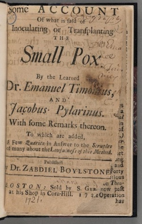 Title page, Some account of what is said of inoculating or transplanting the small pox