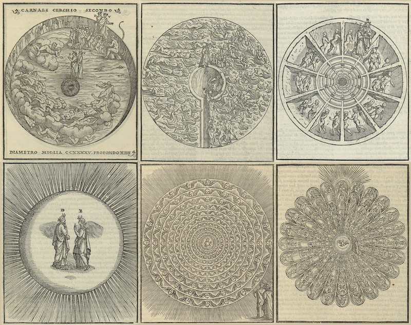 Six engraved circular cosmological maps that depict different circles of Hell and scenes from Dante's Divine Comedy.