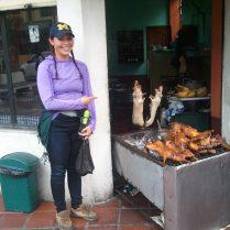 Eating cuy (guinea pig) in Baños
