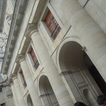 The details of the facade of the cathedral within El Escorial.