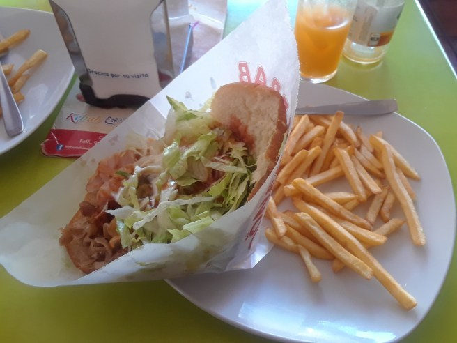 Donner Kebab (meat, lettuce, and various sauces on bread) with fries at the famous Donner Kebab restaurant