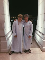 Danny and Ben in looking Dishdashing in their Omani attire. Wearing the white dishdasha and scarf is the equivalent of a jacket and tie.