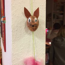 "One of the ladies made this Easter decoration from a ""blown out"" egg."