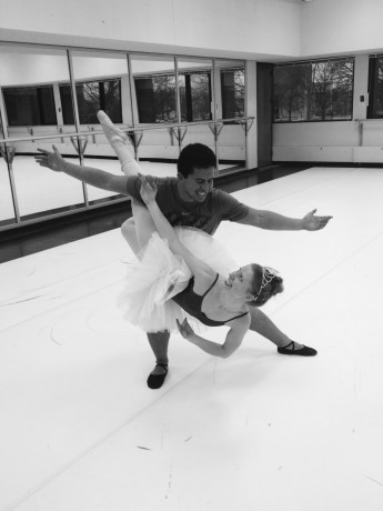 Liz and me practicing for the Nutcracker!