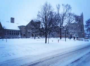 Snowy Graves Hall and Chapel!