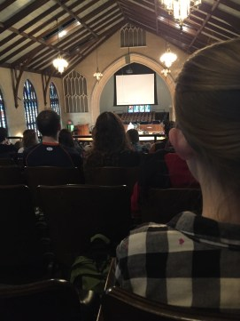 A photo from up on the balcony in chapel. There are A LOT more people down below.