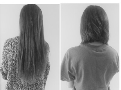 This was the length difference before and after my hair was cut. Crazy!