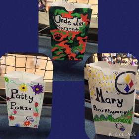 Three luminaries I decorated that were dedicated by my friends and family who donated. One is in memory of my Uncle Jim. The other two, for Patty and Mary, are in honor and support of their fight and survival