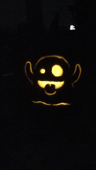 pumpkin carved with a ghost