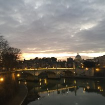 The Tiber river at sunset