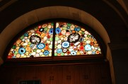 stained glass window made of agate slices