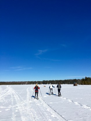 During break, we got to snowshoe across the frozen lake - it was beautiful!