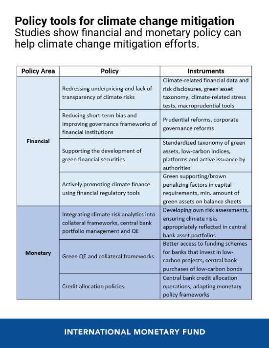 A Role for Financial and Monetary Policies in Climate Change Mitigation