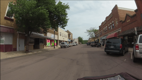 Main Street, Jackson, MN, from the bike cam, headed for Coffee Choices, on right.
