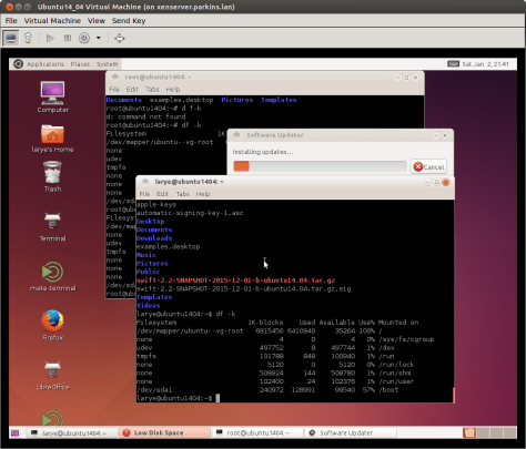 Ubuntu Linux 14.04 Desktop (shown in a virtual machine window on another Linux machine)