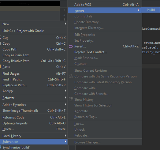 Version Control of Android Studio Project via SVN