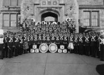 1938 black and white photo of Marching Hundred in front of Union in 1938