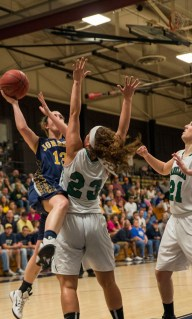 Sophomore Kelsey Barret goes up a Parkland player while going for a layup during the final NJCAA tournament game Photo by Mike Abell