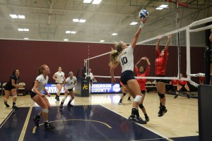 Michelle Tennant going for a point during a sweep over Kansas City Kansas Community College during the JCCC tournament