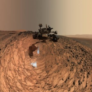 """This low-angle self-portrait of NASA's Curiosity Mars rover from Aug. 5, 2015 shows the vehicle above the """"Buckskin"""" rock target in the """"Marias Pass"""" area of lower Mount Sharp. Credit: NASA/JPL-Caltech/MSSS"""