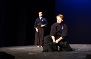 Mike Halaczkiewicz demonstrates one his sword exercises in Yardley hall during the Japan festival. Halaczkiewicz is a member of the Jinmukan Japanese sword school.