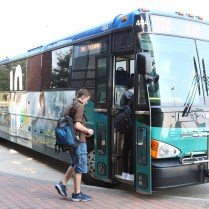 The Jo arrives at the JCCC Carlsen Center. The 710 takes students to and from Lawrence and the KU Edwards campus.
