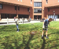 Active Minds club members hula-hoop to relieve stress. Photo by Jasmine Mason.