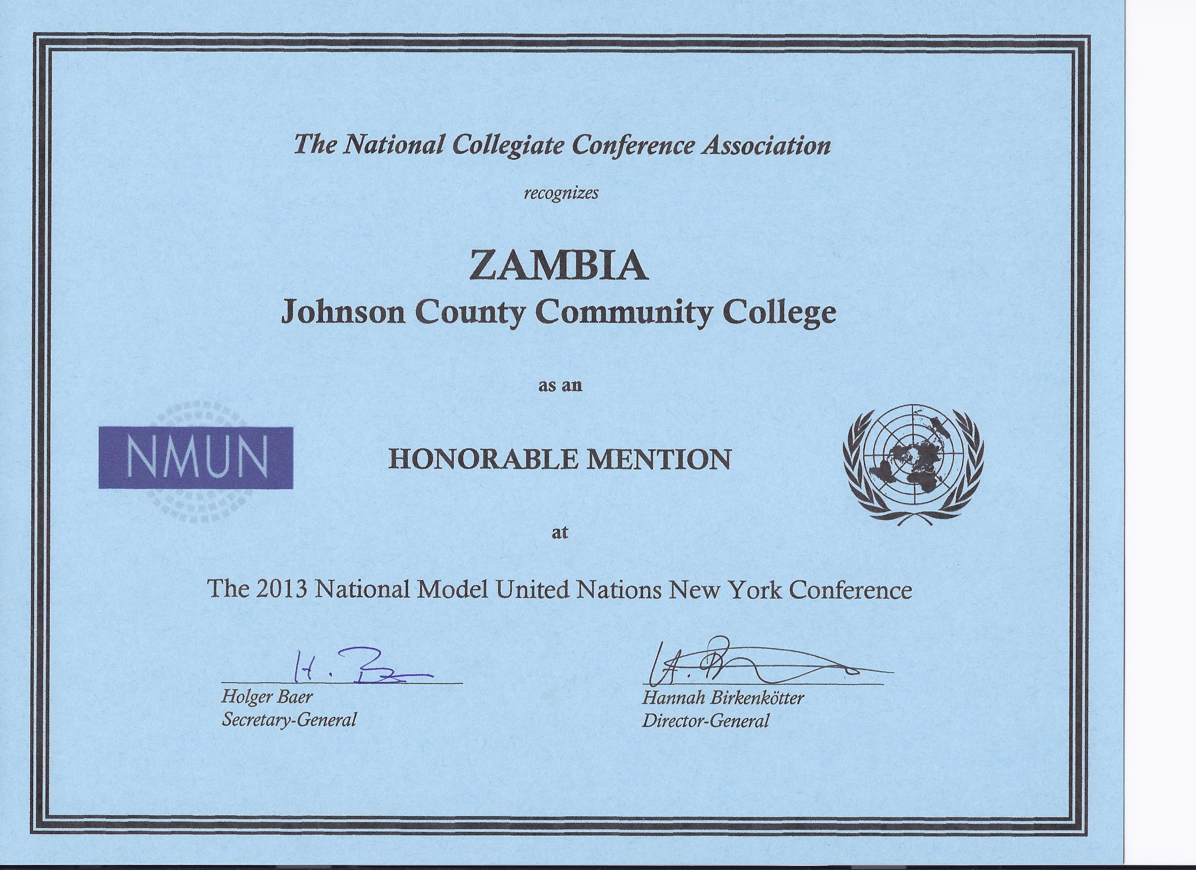 JCCC Model UN Team Receives Awards at the National Model ...