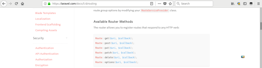 Laravel routing documentation
