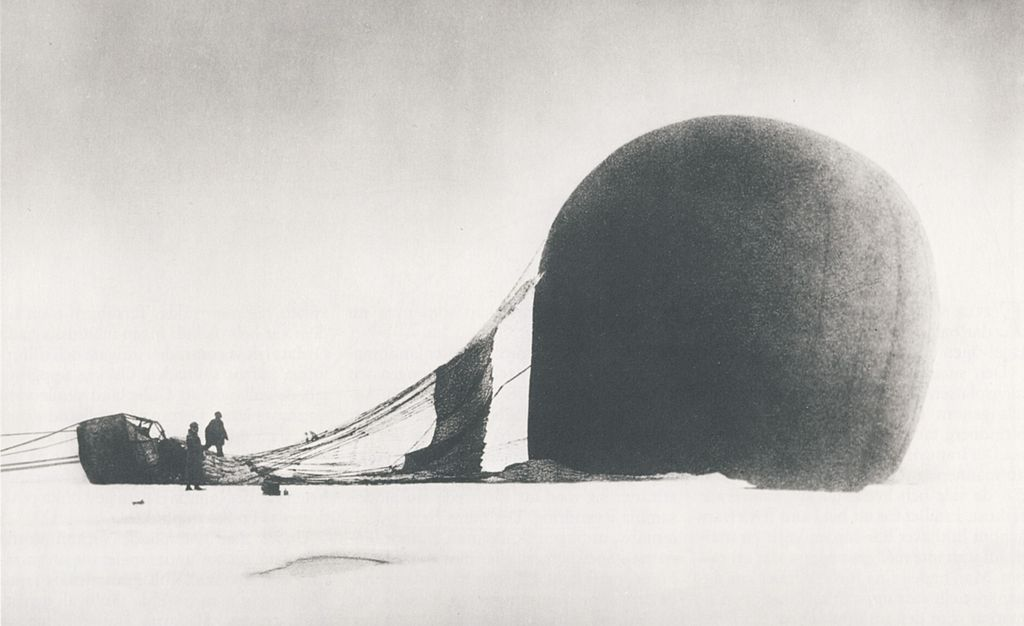 S. A. Andrée and Knut Frænkel with their crashed balloon, 1897, via Wikimedia Commons.