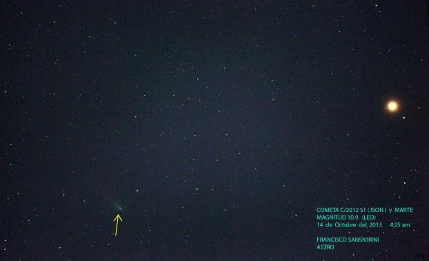Fotografía del cometa ISON C/2012 S1 usando un Telescopio Takahashi TOA 150,  Montura Takahashi Temma II , comandada por Sky 6. Cámara: Canon 5D Mark III  a foco primario. Exposiciones de 60 seg. ISO 3200