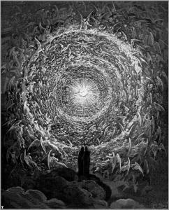 Ilustración del Empíreo de la Divina Comedia de Dante Alighieri, trabajo realizado por Augusto Doré (1832-1883).