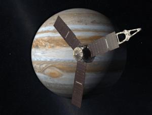 Imagen simulada de la sonda Juno que llegará a Júpiter en julio de 2016. Imagen por NASA.