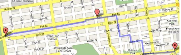 The Wiggle bike route through the city. -- A life saver.