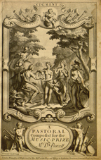 Title page for Daniel Purcell's setting of Congreve's The Judgement of Paris showing Paris with the three goddesses (London: Walsh, 1702)