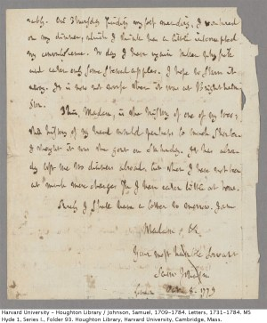 Samuel Johnson's letter
